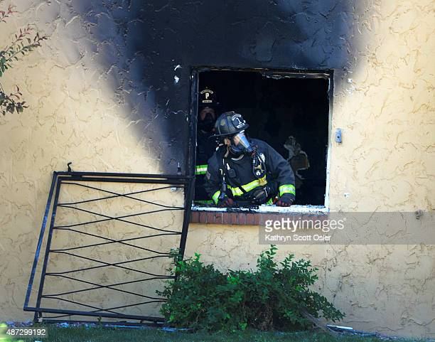 The Aurora Fire Departments responds to a twoalarm fire at the Abrigo Apartments in Aurora which sent three people including an Aurora police officer...