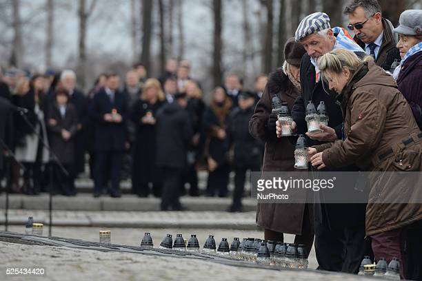 The Auschwitz camp survivers accompanied by their families lay candles at the Victims Monument on the day of the 71st Anniversary of the Liberation...