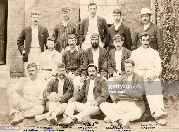 The Austalian cricket team during their Tour of England circa May 1893 Left to right back row Unidentified Jack Lyons Hugh Trumble William Bruce and...