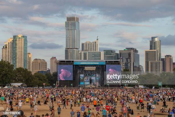 The Austin skyline during the Vince Staples performance during the 2018 Austin City Limits Music Festival at Zilker Park on October 14, 2018 in...