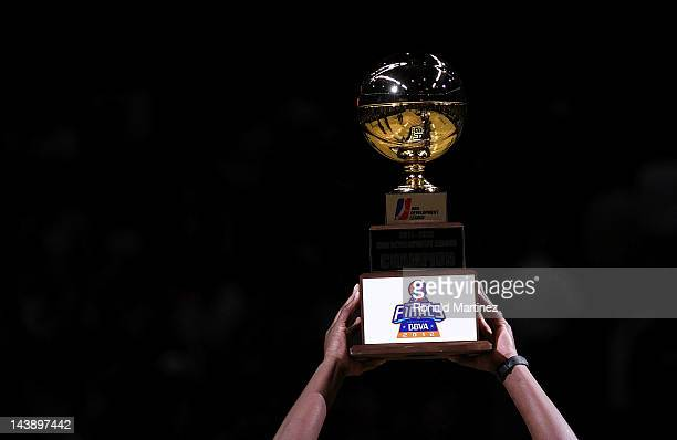 The Austin Toros hold the NBA Developmental League Championship trophy at ATT Center on May 2 2012 in San Antonio Texas NOTE TO USER User expressly...