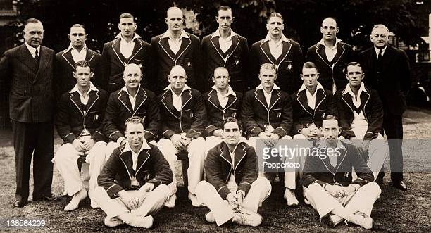The Australia cricket team during their tour of England in May 1938 Back row WH Jeanes SG Barnes EL McCormick WJO'Reilly ECSWhite LO'BFleetwoodSmith...