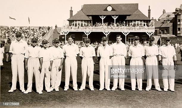 The Australia cricket team prior to their match against Mr HDG LevesonGower's XI at the Scarborough Festival 10th September 1938 Mr LevesonGower's XI...