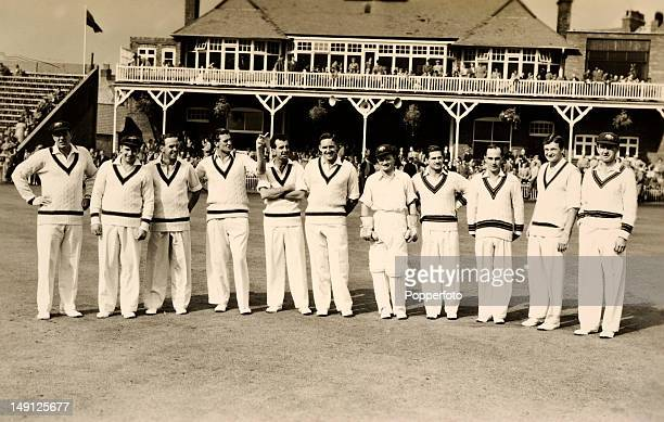 The Australia cricket team prior to their match against Mr TN Pearce's XI at the Scarborough cricket Festival 5th September 1956 Australia won by...