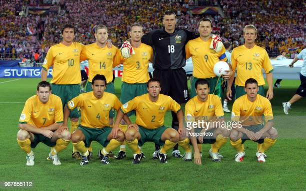 The Australia football team prior to the FIFA World Cup Group F match between Croatia and Australia at the Gottlieb-Daimler Stadium in Stuttgart on...