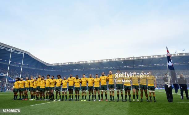 The Australia line up prior to the international match between Scotland and Australia at Murrayfield Stadium on November 25 2017 in Edinburgh Scotland