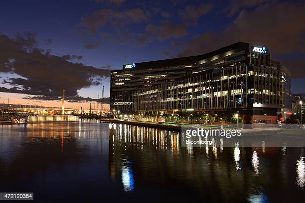The Australia New Zealand Banking Group Ltd headquarters stands on the bank of the Yarra River at night in Melbourne Australia on Friday May 1 2015...