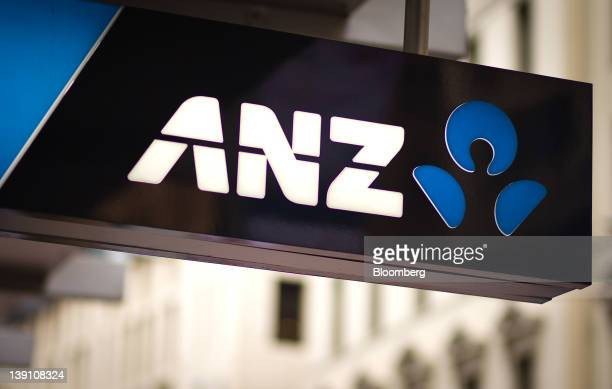 The Australia New Zealand Banking Group Ltd logo is displayed at a bank branch in Sydney Australia on Thursday Feb 16 2012 ANZ Bank reported a 41...