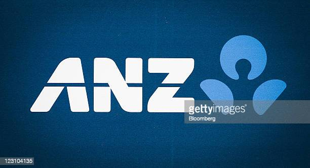 The Australia New Zealand Banking Group Ltd logo is displayed at one of the company's branches in Sydney Australia on Wednesday Aug 31 2011 Australia...