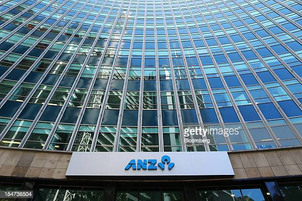 The Australia New Zealand Banking Group Ltd logo is displayed at the bank's Chifley Square branch in Sydney Australia on Tuesday Oct 23 2012...