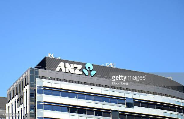 The Australia New Zealand Banking Group Ltd logo is displayed atop the company's headquarters in Melbourne Australia on Friday May 1 2015 ANZ...