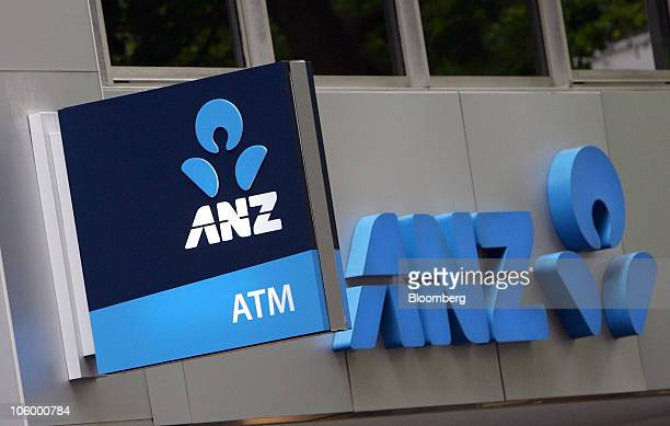 The Australia New Zealand Banking Group Ltd logo is displayed on a bank branch in Sydney Australia on Monday Oct 25 2010 Three of Australia's four...