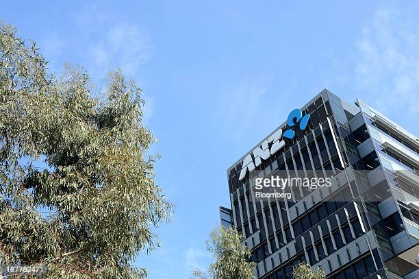The Australia New Zealand Banking Group Ltd logo is displayed on the exterior of the bank's headquarters in Melbourne Australia on Tuesday April 30...