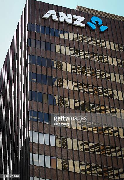 The Australia New Zealand Banking Group Ltd logo is displayed outside the company's head office in Sydney Australia on Wednesday Aug 31 2011...