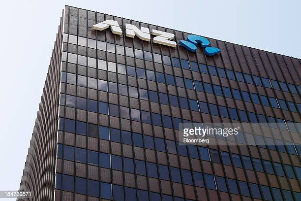 The Australia New Zealand Banking Group Ltd logo is displayed outside the company's head office at 20 Martin Place in Sydney Australia on Tuesday Oct...