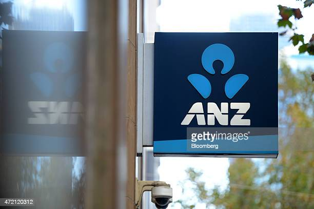 The Australia New Zealand Banking Group Ltd logo is displayed outside a bank branch in Melbourne Australia on Friday May 1 2015 ANZ Australia's...