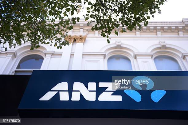 The Australia New Zealand Banking Group Ltd logo is displayed outside a branch in Melbourne Australia on Monday May 2 2016 ANZ is scheduled to report...