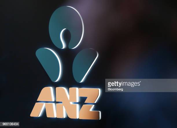 The Australia New Zealand Banking Group Ltd logo is illuminated at a branch in Sydney Australia on Friday June 1 2018 Australia's banking industry...