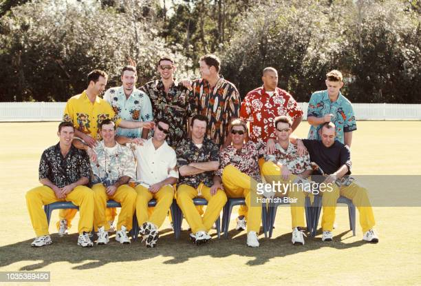 The Australia One Day Squad pictured in Hawaiian Shirts prior to a tour to Sri Lanka on August 15, 1999 in Brisbane, Australia, back row 2nd left to...