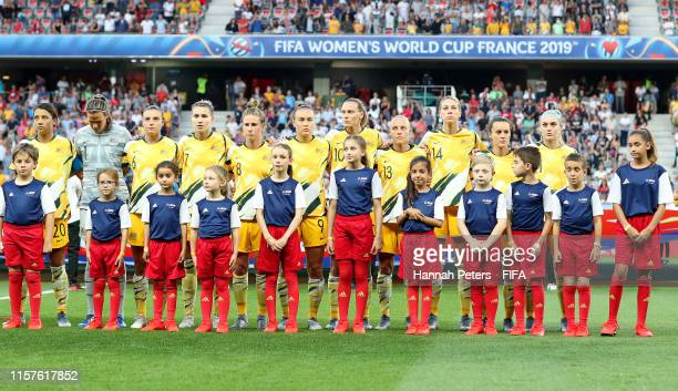 The Australia player line up for the national anthem prior to the 2019 FIFA Women's World Cup France Round Of 16 match between Norway and Australia...