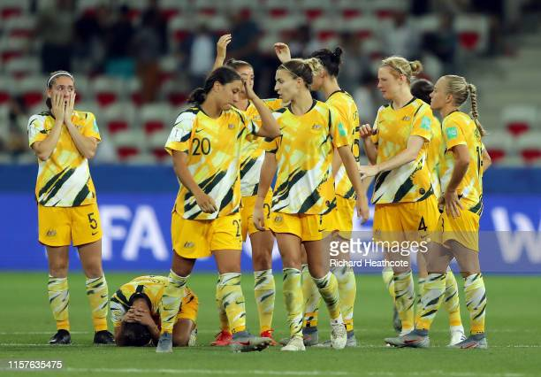 The Australia players look dejected after losing the penalty shoot out during the 2019 FIFA Women's World Cup France Round Of 16 match between Norway...