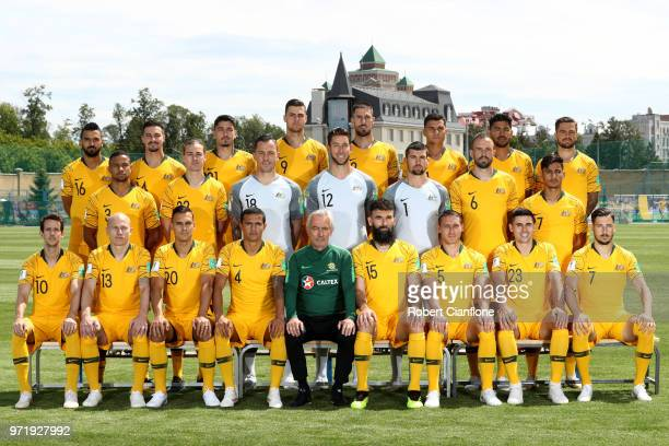 The Australia players pose for a team photo during an Australia Socceroos media opportunity ahead of the FIFA World Cup 2018 at Stadium Trudovye...