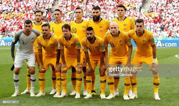 The Australia players pose for a team photo prior to the 2018 FIFA World Cup Russia group C match between Australia and Peru at Fisht Stadium on June...
