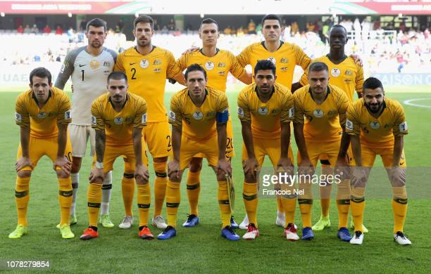 The Australia players pose for a team photo prior to the AFC Asian Cup Group B match between Australia and Jordan at Hazza Bin Zayed Stadium on...