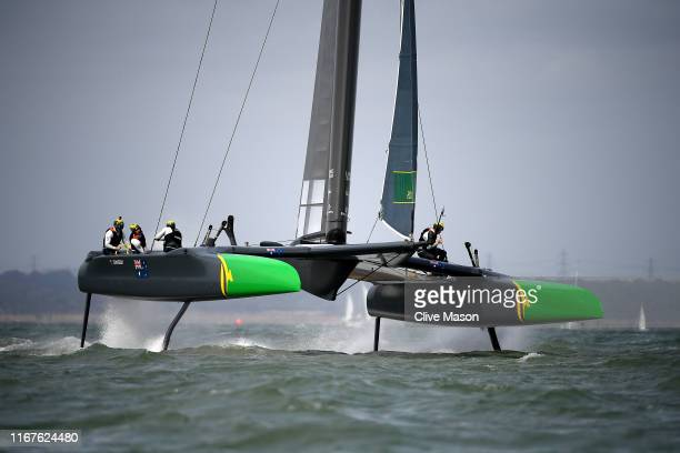 The Australia SailGP F50 catamaran skippered by Tom Slingsby in action racing during Cowes SailGP on August 11 2019 in Cowes England