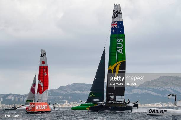 The Australia SailGP team and Japan team compete during the SailGP Final in Marseille, southern France, on September 22, 2019. - The SailGP brings...