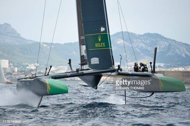 The Australia SailGP team competes during the SailGP Final in Marseille southern France on September 22 2019 The SailGP brings together competitors...