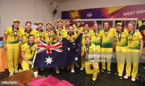 The Australia side celebrate in the changing rooms after the match during the ICC Women's World T20 2018 Final between Australia and England at Sir...