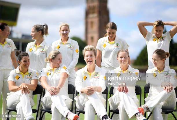 The Australia side look on as they prepare for a team photo during Day Three of the Kia Women's Test Match between England Women and Australia Women...