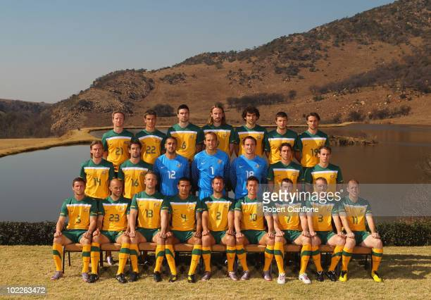 The Australia Socceroos pose for an official 2010 FIFA World Cup team photo at Kloofzicht Lodge on June 21 2010 in Muldersdrift South Africa
