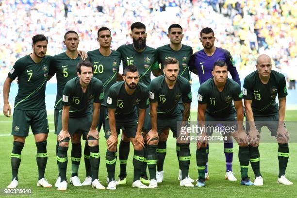 The Australia starting XI Australia's forward Mathew Leckie Australia's defender Mark Milligan Australia's defender Trent Sainsbury Australia's...