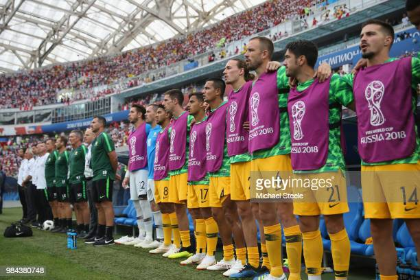 The Australia substitute line up for national anthem prior to the 2018 FIFA World Cup Russia group C match between Australia and Peru at Fisht...