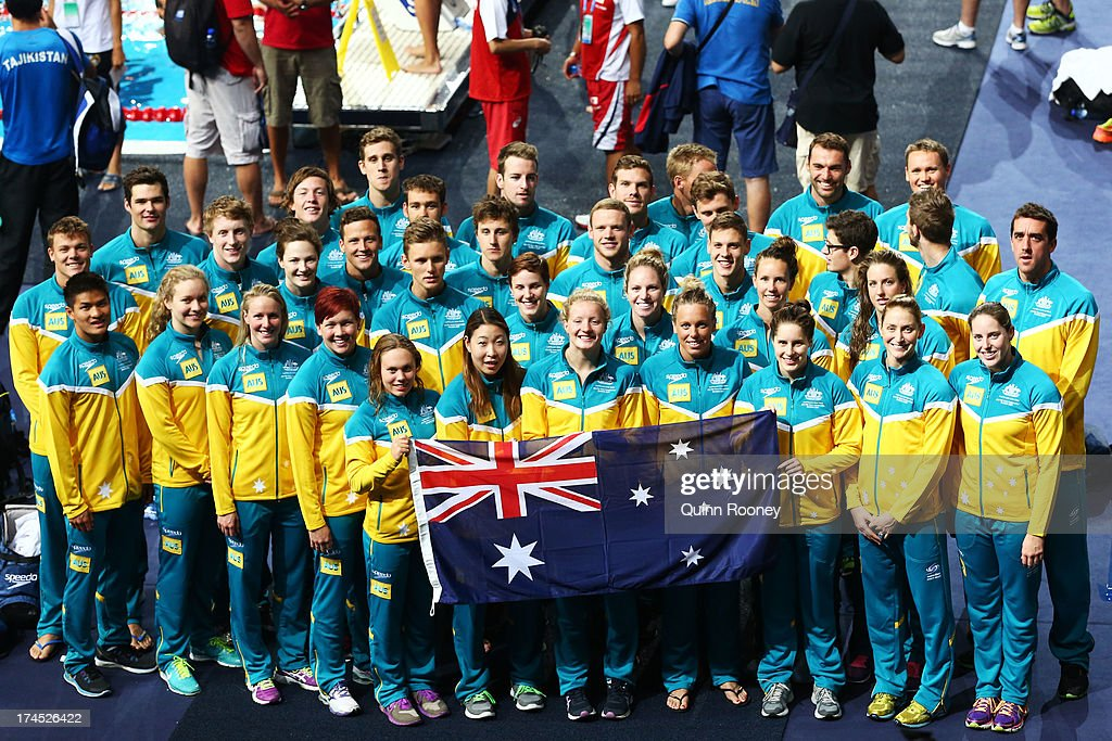 The Australia Swim Team pose for a photograph during a swim training session on day eight of the 15th FINA World Championships at Palau Sant Jordi on July 27, 2013 in Barcelona, Spain.