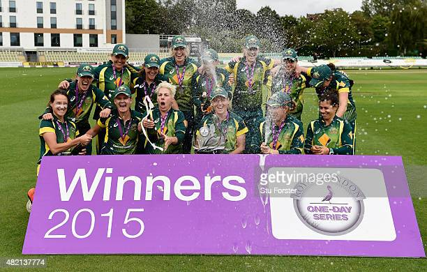 The Australia team celebrate after their 21 series victory in the Royal London Cup after the 3rd Royal London ODI of the Women's Ashes Series between...