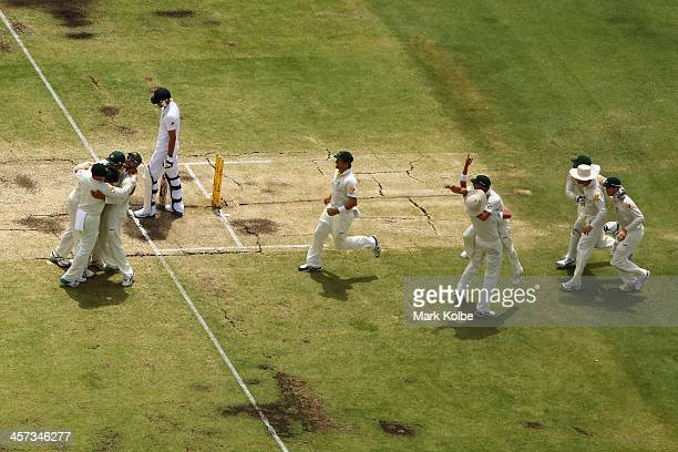 The Australia team celebrate victory and a 30 series win after taking the wicket of James Anderson of England during day five of the Third Ashes Test...