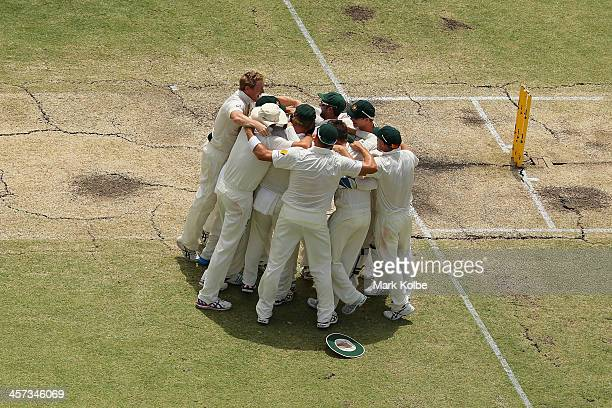 The Australia team celebrate victory and a 30 series win during day five of the Third Ashes Test Match between Australia and England at WACA on...