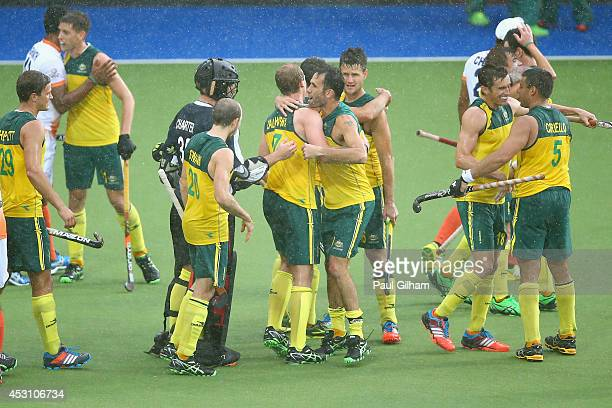 The Australia team celebrate winning the Men's Gold Medal Match Final between India and Australia at Glasgow National Hockey Centre during day eleven...