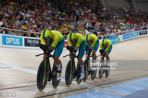 The Australia team competes in the men's 4000m team pursuit finals track cycling event during the 2018 Gold Coast Commonwealth Games at the Anna...