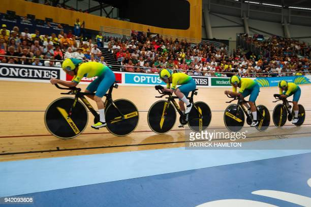 The Australia team competes in the men's 4000m team pursuit qualifying track cycling event during the 2018 Gold Coast Commonwealth Games at the Anna...