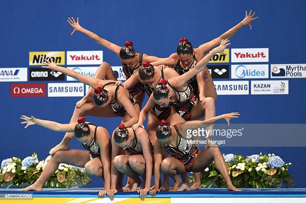 The Australia team competes in the Women's Team Free Synchronised Swimming Preliminary on day four of the 16th FINA World Championships at the Kazan...