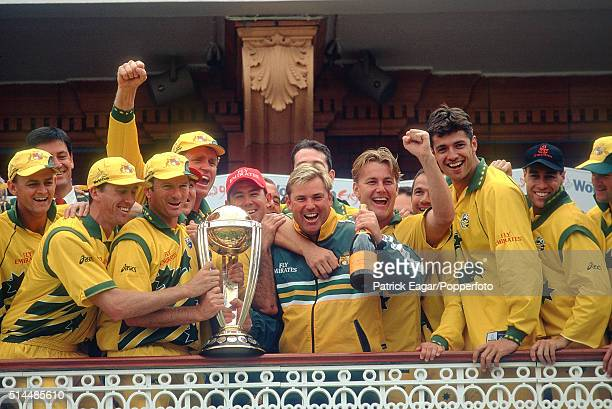The Australia team lift the trophy after winning the ICC World Cup Final between Australia and Pakistan at Lord's cricket ground in London 20th June...