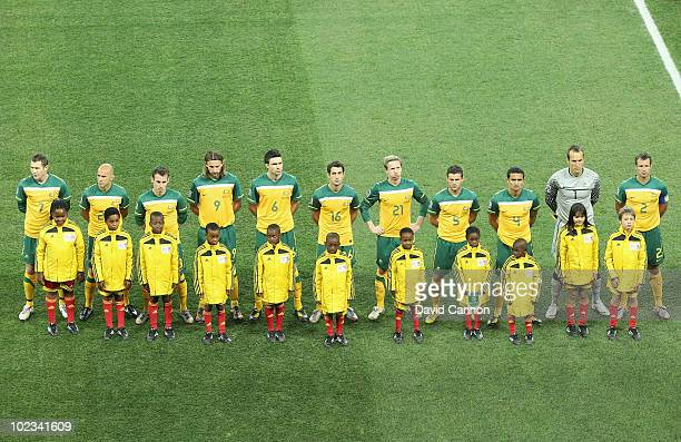 The Australia team line up ahead of the 2010 FIFA World Cup South Africa Group C match between USA and Algeria at the Loftus Versfeld Stadium on June...