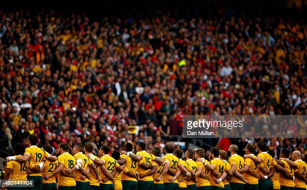 The Australia team line up for the national anthem prior to the 2015 Rugby World Cup Pool A match between Australia and Wales at Twickenham Stadium...