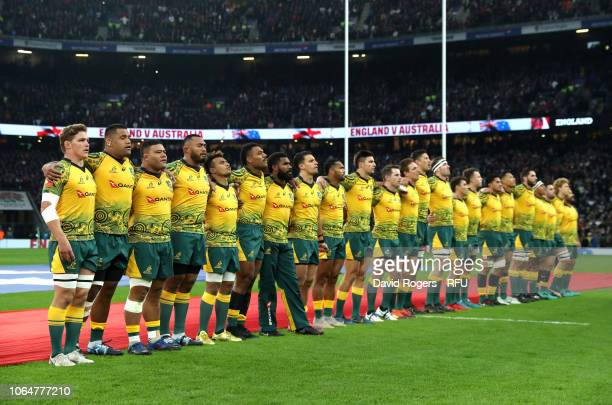 The Australia team line up for their national anthem ahead of the Quilter International match between England and Australia at Twickenham Stadium on...