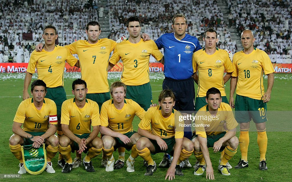 The Australia team line up prior to the 2010 FIFA World Cup qualifying match between Qatar and Australia at Jassim Bin Hamad Stadium on June 14, 2008 in Doha, Qatar.