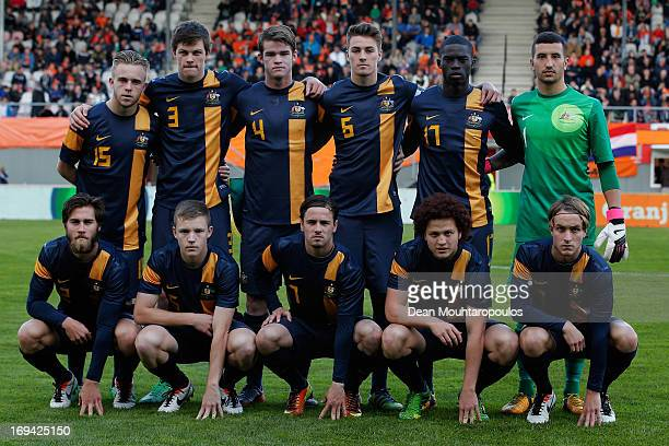 The Australia team line up prior to the International friendly match between Netherlands U21's and Australia U21's at Unive Stadium on May 24 2013 in...